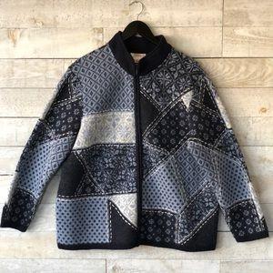 Talbots patchwork merino wool full zip cardigan